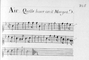 """Illustration 11 : """"Quelle heure est-il Margot"""" (dans les airs notés du chansonnier Maurepas)"""