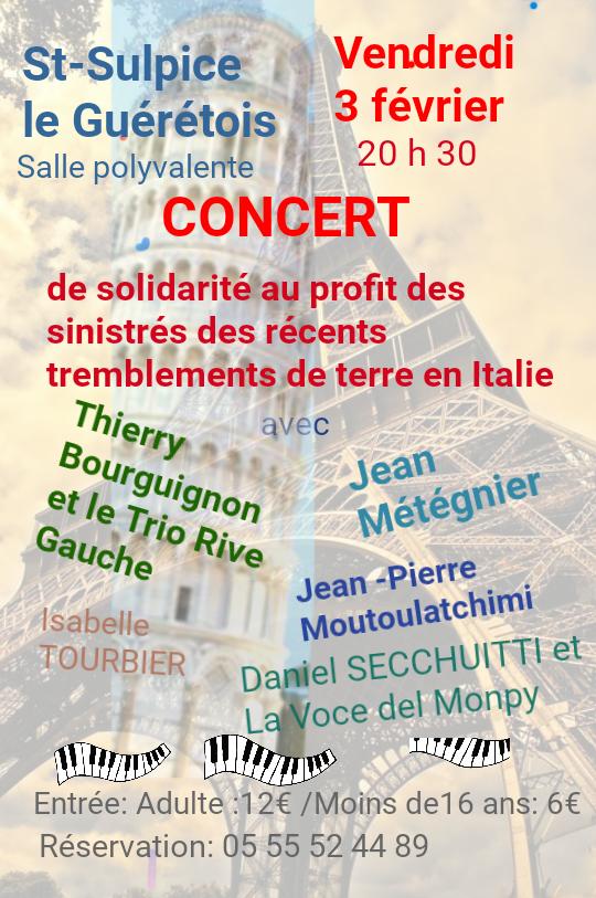 Concert solidarite Italie Vendredi 3 Février à 20h30 à Saint Sulpice le Guérétois
