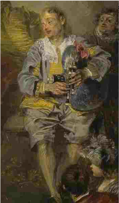 Détail du tableau « Fêtes vénitiennes, de Jean-Antoine Watteau