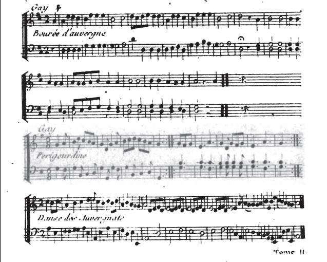 Partition des danses auvergnates de l' « Essai sur la musique ancienne et moderne » de La borde