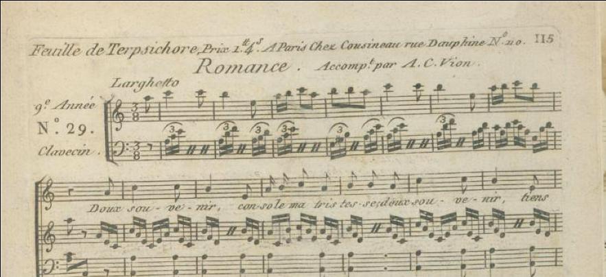 Une des premières publication d'une romance de Montlosier sur un air de montagnarde auvergnate (1793)