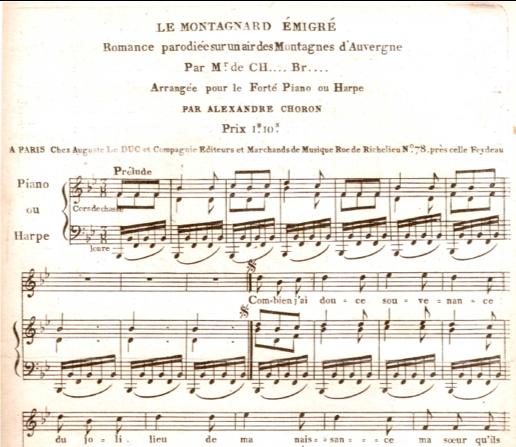 """Début de la partition, publiée dans """"Journal Hebdomadaire composé de pièces de chant de tout genre, éd. Auguste Le Duc et Cie – 1807"""