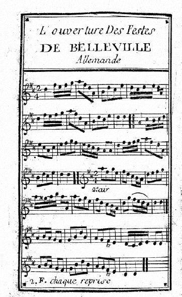 Illustration : « Bourée La fette de Belleville » (sic) (Ms Dauternaux)